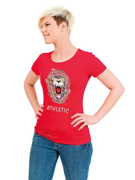 camiseta chica roja La Fuerza del León