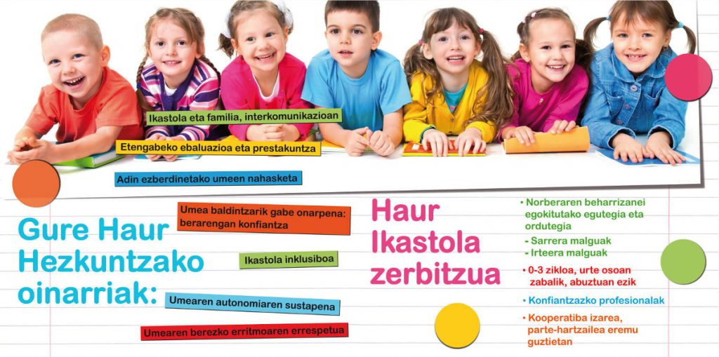 Diseño gráfico folleto Ikastola Zubizaharra Nuevo Curso